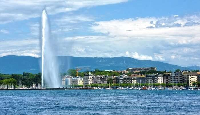 Lake Geneva is crystal clear with bluish waters
