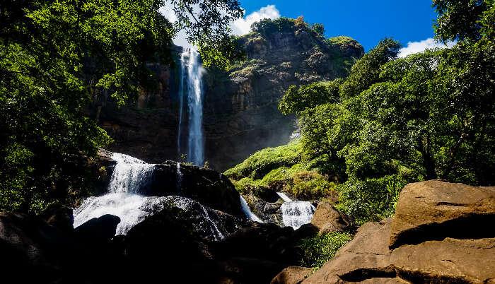 Scenic beauty of waterfall