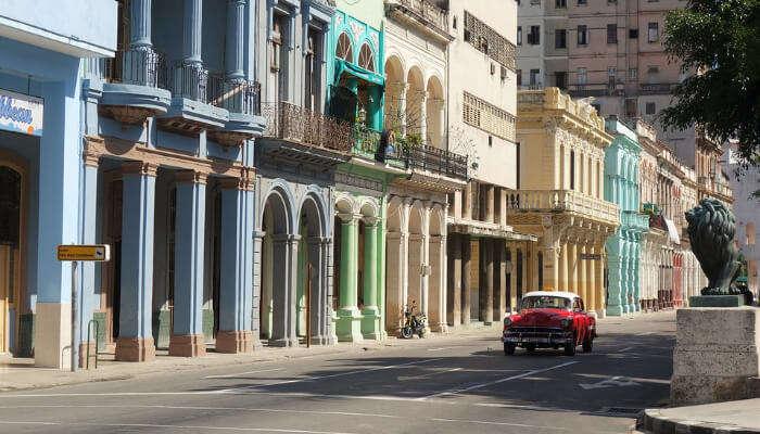 Vintage Car In a Cuban Street