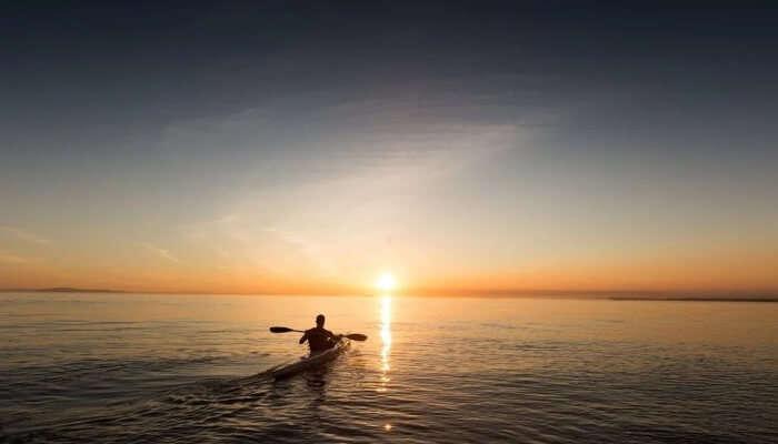 Kayaking with sunset
