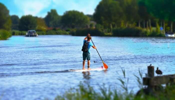 Paddleboarding In Water