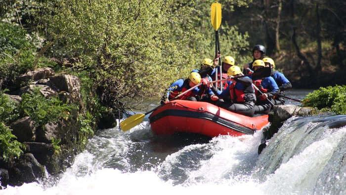 Group Enjoying River Rafting