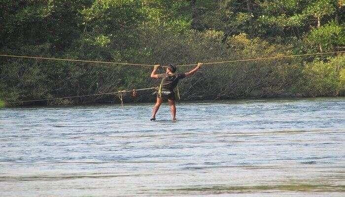 Rush of Traversing Stream on a Rope