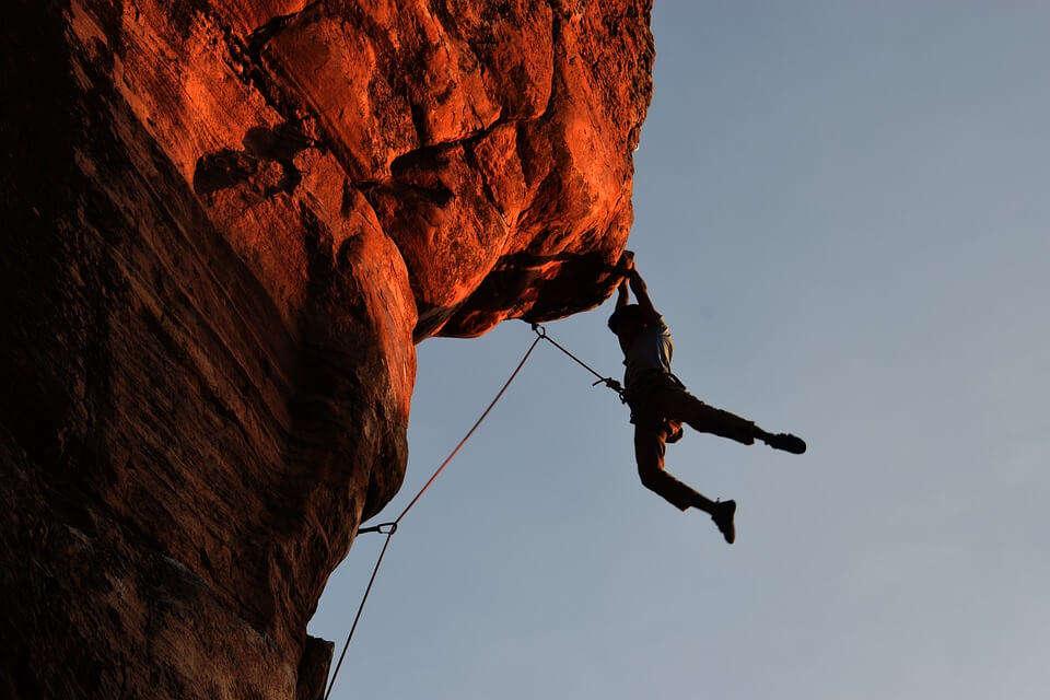 man during rock climbing