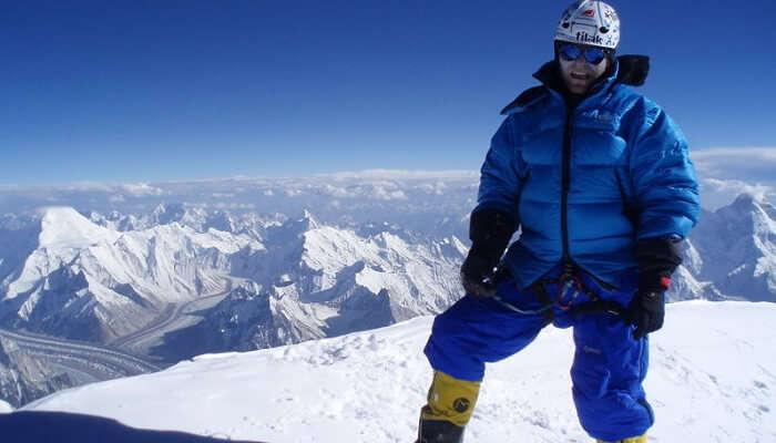 Traveler In Siachen In Snow