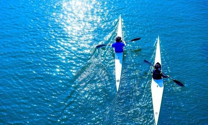 People kayaking in Japan