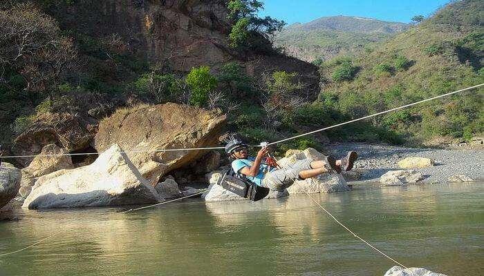 Ziplining above water