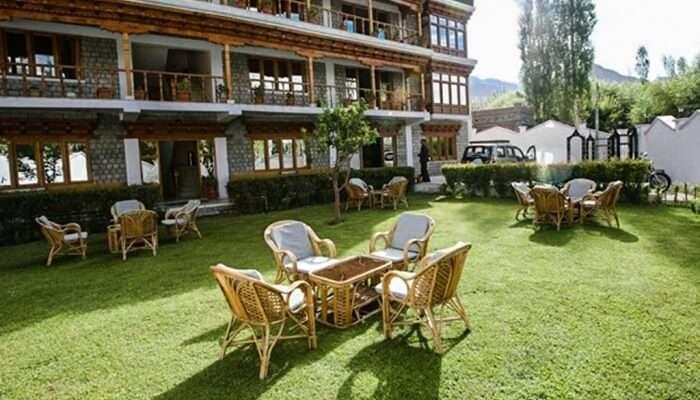 garden area of a hotel