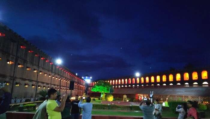 light and sound show at the Cellular Jail