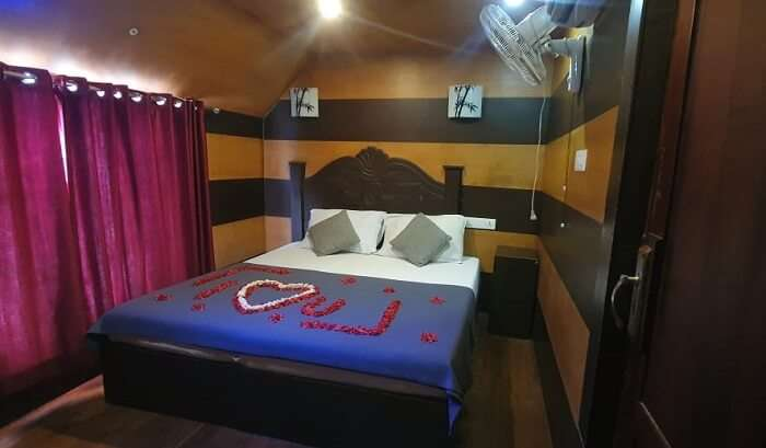 room of the houseboat in alleppy