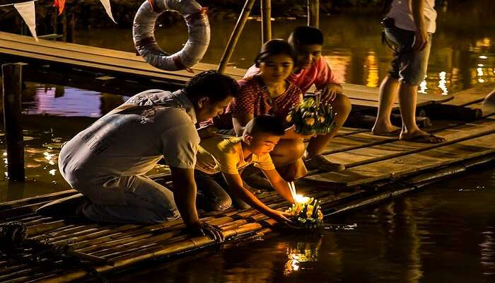 Krathong in Thai means banana trunk decorated with flowers, incense, leaves, and candles
