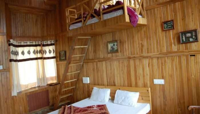 bedroom with wooden interiors