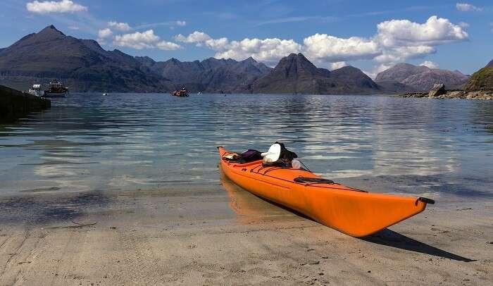 kayaking in crystal clear waters of Skye