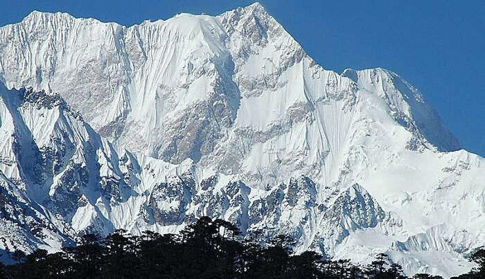 snow caped mountain peak