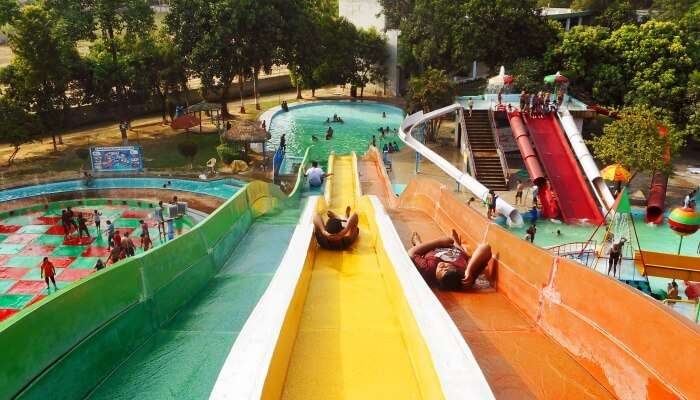 people on a waterslide