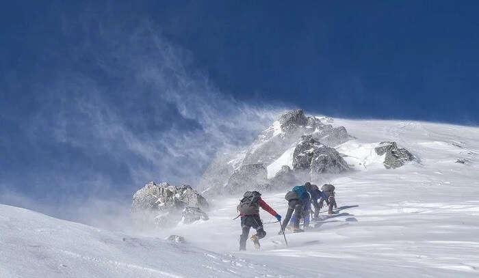 Trekking on Nepal mountains