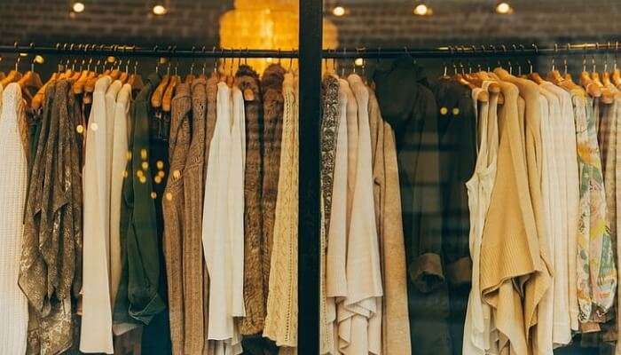 clothes on display window
