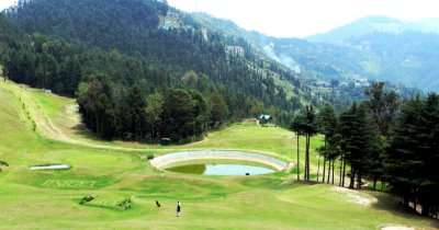 Golf field with mountain