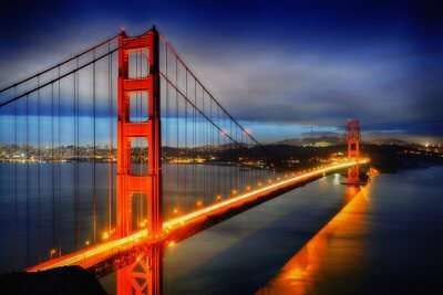 view of golden gate at night