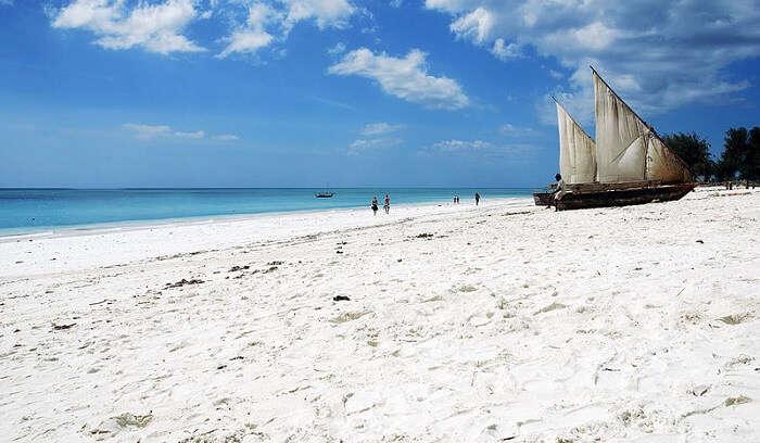 witness the white sand beach