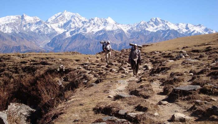 Trekkers In a Mountain