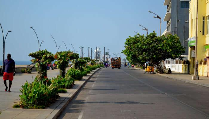 Beach Road in Pondicherry