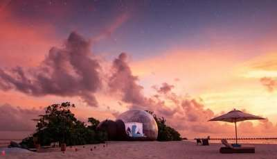 beach bubble tents at Finolhu Maldives