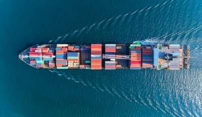 Aerial Top View Container Ship With Crane Bridge For Load